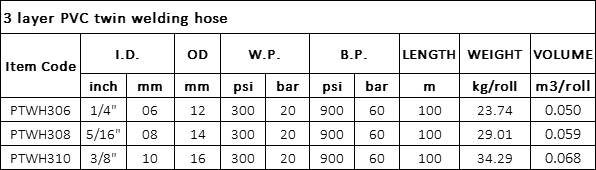3 layer PVC twin welding hose specification