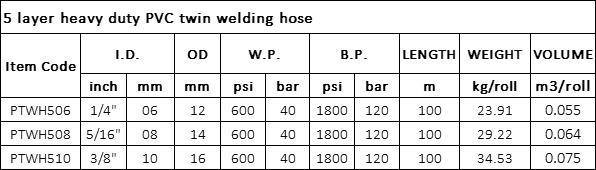 5 layer heavy duty PVC twin welding hose specification