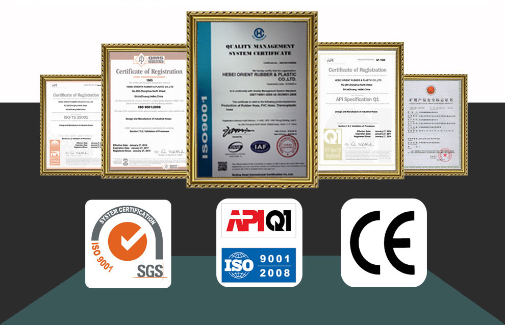 rubber and pvc hose certificates